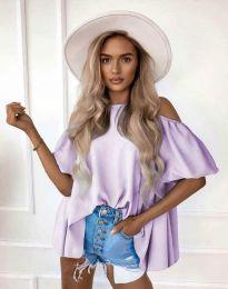 Атрактивна елегантна свободна дамска блуза с паднали рамене в лилаво - код 0157