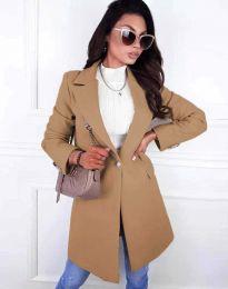 Дамско елегантно палто с копче в цвят капучино - код 4704