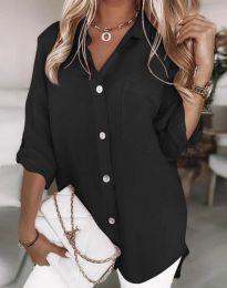 Дълга свободна дамска риза в черно - код 0239