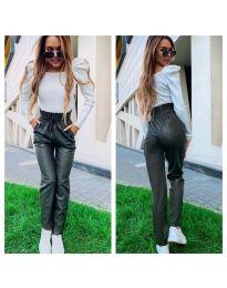 Маслено зелен  дамски панталон еко кожа с висока талия  - код 9199