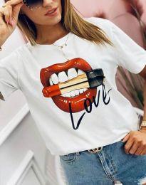 Атрактивна тениска в бяло - код 4340