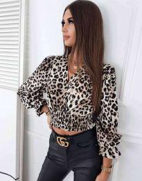 Елегантна блуза с ефектен животински десен  - код 0482 - 2