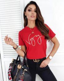 Дамска тениска в червено с надпис - код 3350