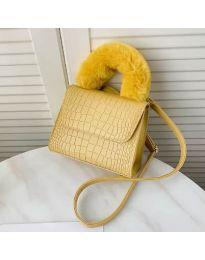 Дамска чанта в цвят горчица със змийски ефект и пухкава дръжка - код B57