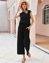 Дамски комплект потник и панталон в черно - код 0881