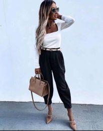 Дамски панталон с колан в черно с широка кройка - код 2109