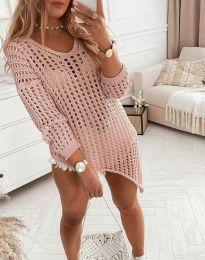 Ефектна блуза с едра плетка в розово - код 9969