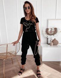 Дамска тениска с принт в черно - код 7773 - лице