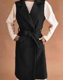 Дълъг дамски елек с колан в черно - код 7196