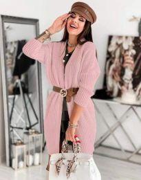 Дамска дълга плетена жилетка в цвят пудра - код 0419