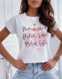Тениска в бяло с принт - код 11670