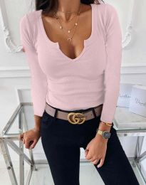 Изчистена дамска блуза рипс с дълбоко деколте в светлорозово - код 875
