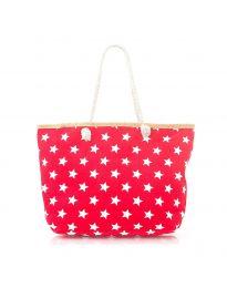 Плажна чанта в червено на бели звездички с въжени дръжки - код H-9025