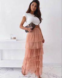 Ефирна дамска пола в цвят пудра - код 11730