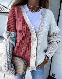 Атрактивна свободна плетена дамска жилетка с копчета - код 9251 - 7