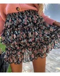 Кокетна дамска пола в черно на цветя - код 4851